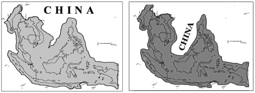 Left: Figure 1*. ASEAN outline before 2015: four states bordering China: Myanmar, Laos, Vietnam, Philippines. Right: Figure 2*. ASEAN outline after 2015: seven states border-ing China: Myanmar, Laos, Vietnam, Philippines, Brunei, Malaysia, Indonesia. Maps drawn by Jim Placzek.