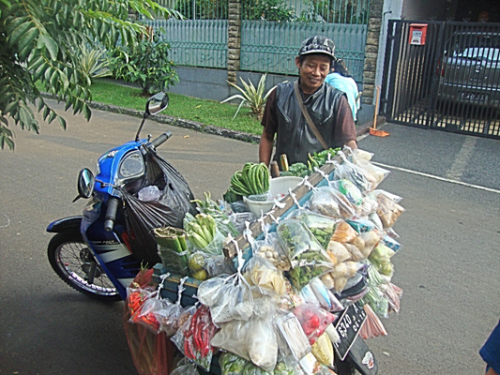 Mr. Udin, the neighbourhood Tukang Sayur (Vegetable Vendor). Photo by Tammara Soma.